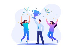Successful businessman celebrating a victory, teamwork. Flat 2D character. Concept for web design