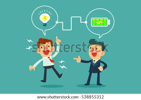 successful businessman charging battery power to another businessman's idea bulb