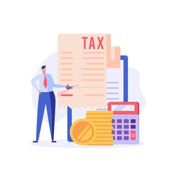 Successful businessman cuts heavy taxes with scissors. Tax deduction. Concept of tax return, optimization, duty, financial accounting. Vector illustration in flat design for UI, banner, mobile app