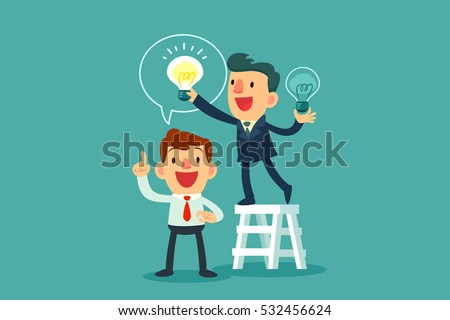 successful businessman give another businessman new idea bulb