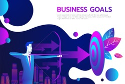 Successful businessman hold arrow in hand, achievement goal. Aim in business concept. Target isolated background. Vector illustration flat design. Aspirational people. Mission achieved