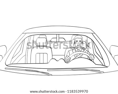 Successful Businessman in Luxury Car. Man Driving a Cabriolet. isolated object coloring, black lines, white background. Vector illustration