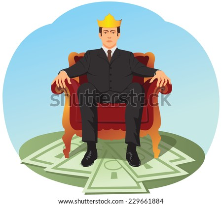Successful businessman is sitting like a king on a heap of money