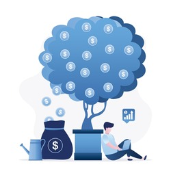 Successful businessman is sitting under money tree. Profitable business project. Male freelancer or start-up working on laptop. Making money. Venture fund, investment process. Flat vector illustration