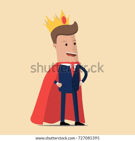 Successful businessman. King businessman. Vector illustration
