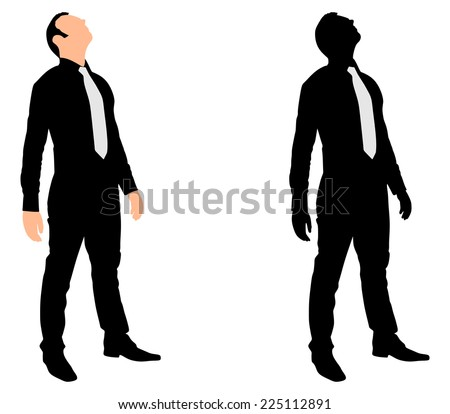 Successful businessman looking up, vector