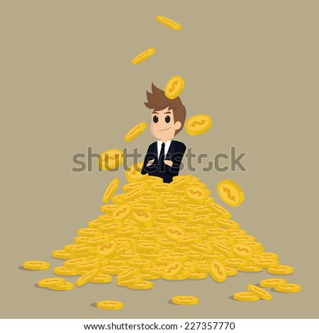 successful businessman on gold