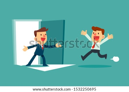 Successful businessman open door for another businessman. Business opportunity concept.