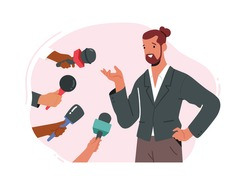 Successful Businessman or Famous Politician Character Gives Interview and Sharing Opinion with Newspaper Journalists with Microphones Asking Young Male Celebrity Questions. Cartoon Vector Illustration