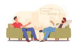 Successful Businessman or Famous Politician Giving Interview to Journalist. Tv Host Asking Young Male Celebrity Character Questions in Television Talk Show Studio. Cartoon People Vector Illustration