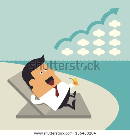 successful businessman relaxing