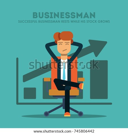Successful businessman rests while his shares grow. Vector illustration.