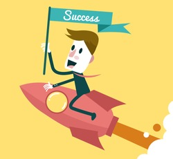Successful businessman ridding on rocket. Business concept. Vector