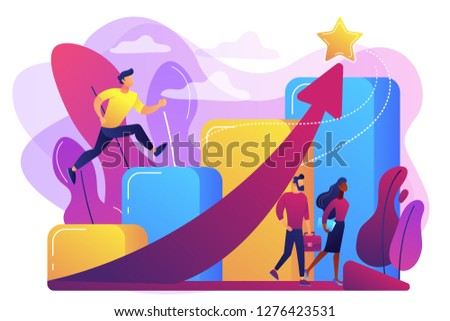 Successful businessman running up the career stairs and rising arrow to a star. Career growth, careerbuilder, career development concept. Bright vibrant violet vector isolated illustration