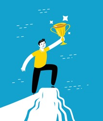 Successful businessman standing on a top of mountain and holding up winning trophy. Business concept