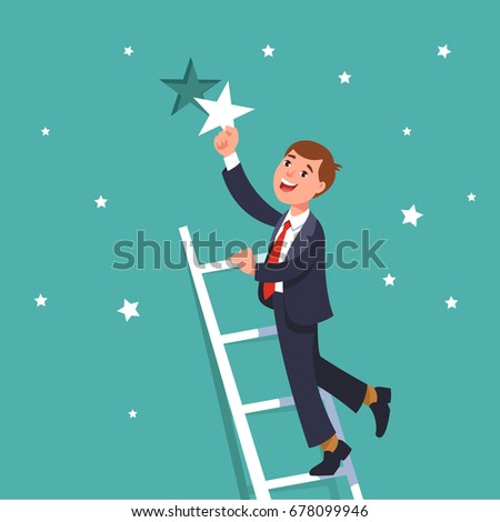 Successful businessman standing on ladder of success and reaching goals holding a star. Business concept achievement of the goal
