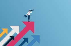 Successful businessman standing on the arrow vector illustration.