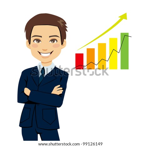 Successful businessman standing with arms folded next to bar chart stats showing business growth trend