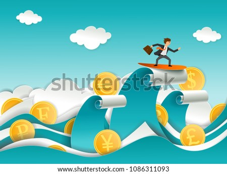 successful businessman surfing