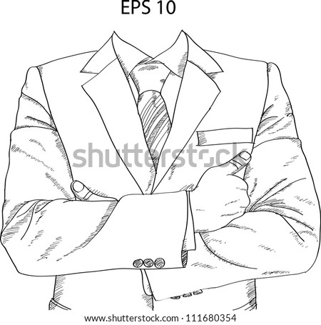 Successful Businessman with Crossed Hands Vector Sketch Up, EPS 10.