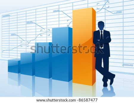 Successful businessman with growing chart.