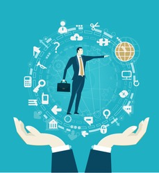 Successful businessmen pointing on the globe icon and surrounded by communication icons. Business network, development and support concept