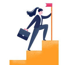 Successful businesswoman climbed up the career ladder. Feminists power. Vector stock illustration isolated on white background. Business woman in a flat style. A woman in suit sets the flag. Stairs up