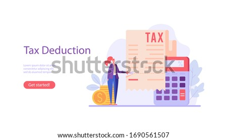 Successful businesswoman cuts heavy taxes with scissors. Tax deduction. Concept of tax return, optimization, duty, financial accounting. Vector illustration in flat design for UI, banner, mobile app