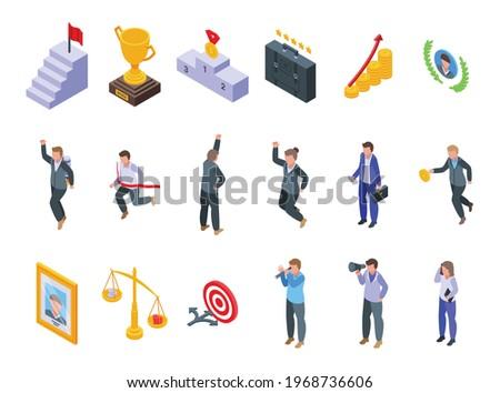 Successful career icons set. Isometric set of successful career vector icons for web design isolated on white background Photo stock ©