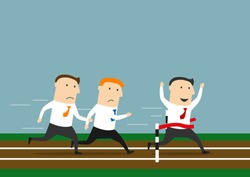 Successful cartoon businessman crossed the finish line to take first place leaving his rivals behind. Business competitions, leadership and rivalry theme design