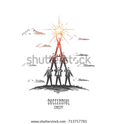 Successful concept. Hand drawn pyramid of people. Successful teamwork isolated vector illustration.