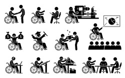 Successful disabled person having a good career and work stick figures icons. Vector illustrations of a handicapped working man with achievement in education and accomplishment in life.
