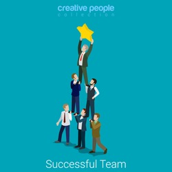 Successful dream team flat 3d isometry isometric business concept web vector illustration. Teamwork businessmen pyramid to reach star. Creative people collection.