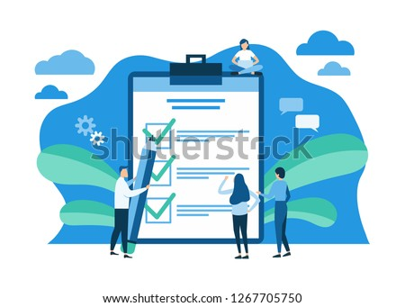 Successful execution of tasks from the to check list. Man with pen and clipboard. To do list concept. Completion tasks. Vector illustration flat design.