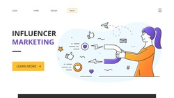 Successful female Social Media Influencer dong marketing promotions using a horseshoe magnet to attract followers and likes in a web page template with copyspace, colored vector illustration