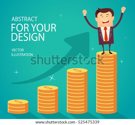 Successful happy business man standing on growth money stairs. Success financial rich concept. Business concept cartoon vector illustration. Flat style