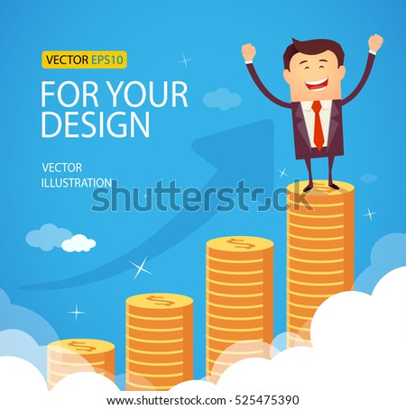 Successful happy business man standing on huge growth money stairs in sky. Success financial rich concept. Business concept cartoon vector illustration. Flat style