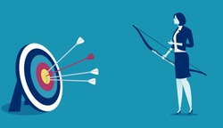 Successful Hit. Businesswoman hit the target. Concept business illustration.