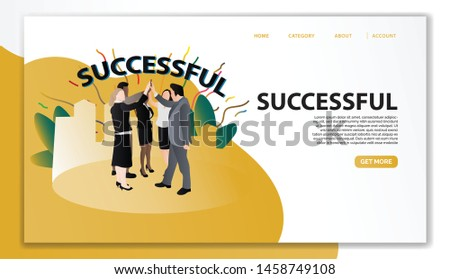 Successful Landing Page Template. Character Success Achievement Office Workers Celebrating with The Team. Flat Cartoon Vector Illustration for Mobile Settings, Website Page and Advertisement - Vector