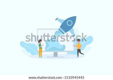 Successful launch of startup. Business Startup launching product with rocket concept vector illustration concept for web landing page template, banner, flyer and presentation