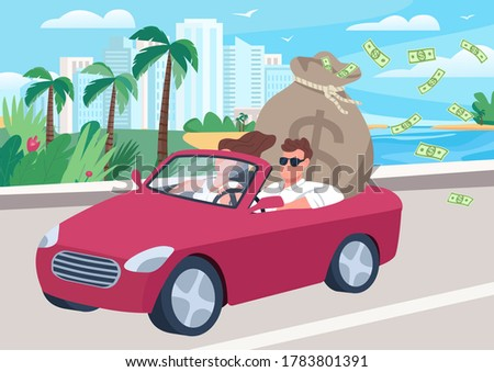 Successful man in car with money bag flat color vector illustration. People in car with cash bag. Rich couple in cabriolet riding coastal road 2D cartoon characters with cityscape on background