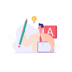 Successful man with a pencil writing or editing a text. Concept of copywriting, journalism, writing, copyright idea. Vector illustration in flat design.