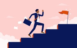 Successful minority  - Ethnic Business man with briefcase running fast up stairs towards goal. Success in business, working hard and aspirational concept. Vector illustration.