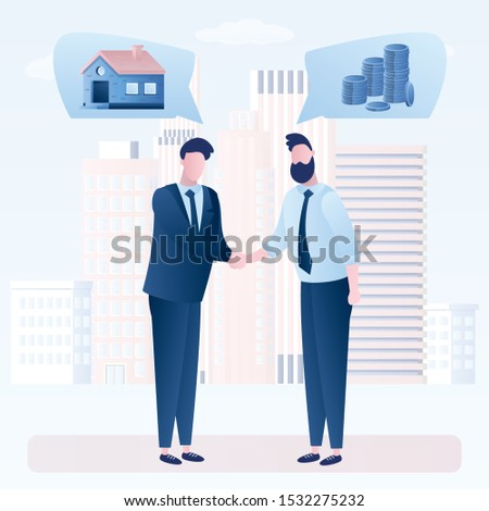 Successful negotiations. Seller and Buyer. Broker and client characters. Businessmen handshake. Housing Installments. Urban silhouette on background. New Housing. Trendy style vector illustration Foto stock ©
