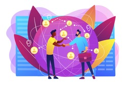 Successful partnership negotiation, partners handshaking. International business, global business collaboration, international teamwork concept. Bright vibrant violet vector isolated illustration