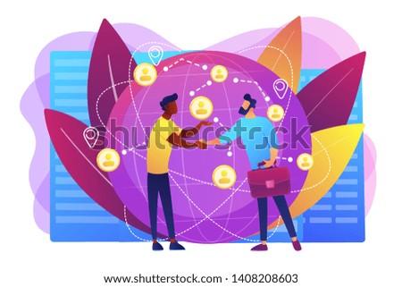 Successful partnership negotiation, partners handshaking. International business, global business collaboration, international teamwork concept. Bright vibrant violet vector isolated illustration