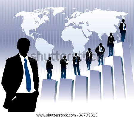 Successful people are standing on a large graph, world map in the background. The base map is from Central Intelligence Agency Web site.