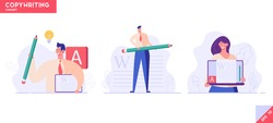 Successful people with a pencil writing or editing a text. Concept of copywriting, journalism, writing, copyright idea. Vector illustration in flat design.