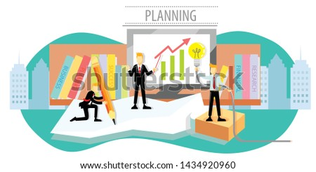 Successful plan of people with ideas planning.Businessmen are planning financials