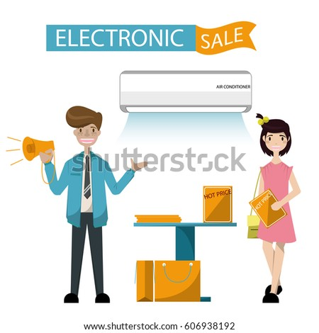 Successful salesman in electrical shop. Customer buying  Air conditioner.Vector/Illustration